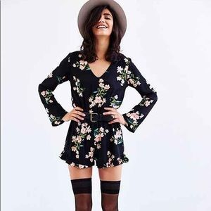 Urban Outfitters black floral romper